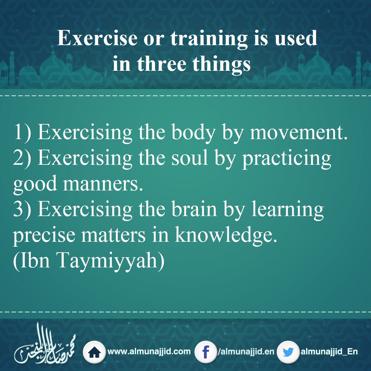 Exercise or training is used in three things #exercise #training #body #soul #brain<br>http://pic.twitter.com/YQptxAZNw9