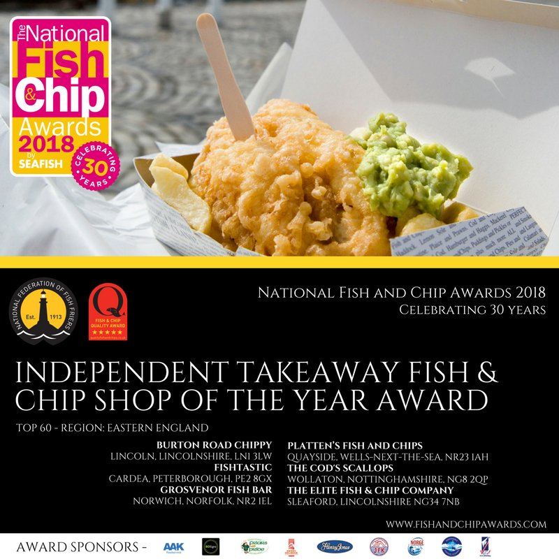 delighted be voted as one of the top 60 fish and chip shops in the UK for 2018, hopefully we can make the top 20 #Plattens #Wells #Awards <br>http://pic.twitter.com/7fhtTqgUup