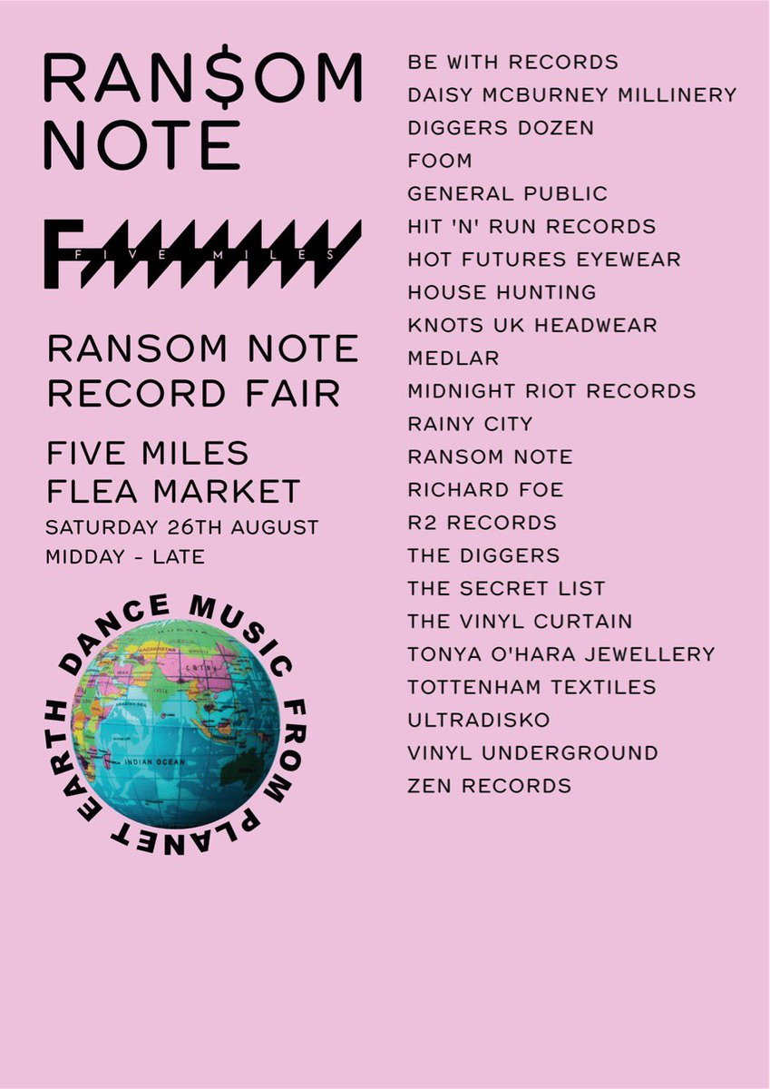 We will be at @fivemileslondon on #Saturday for the @ransomnoted record fair with our good friends @generalpublic_ .  Wax on.  #vinyl #wax<br>http://pic.twitter.com/f3Cz5rbY2k