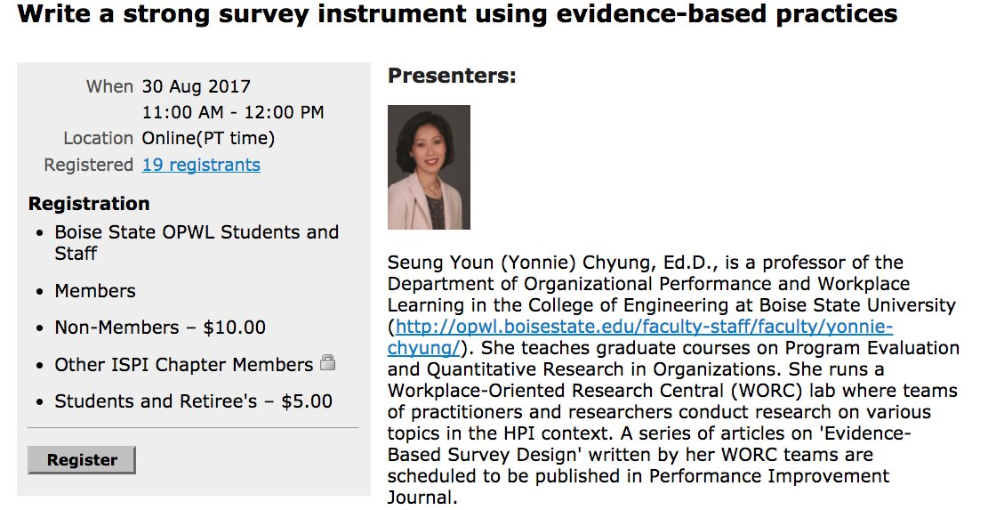 Using survey in evaluation projects?Register here  http:// ispibay.org/event-2633619  &nbsp;   to learn writing a strong survey instrument #evaluation #webinar<br>http://pic.twitter.com/5XYof2Fbe6