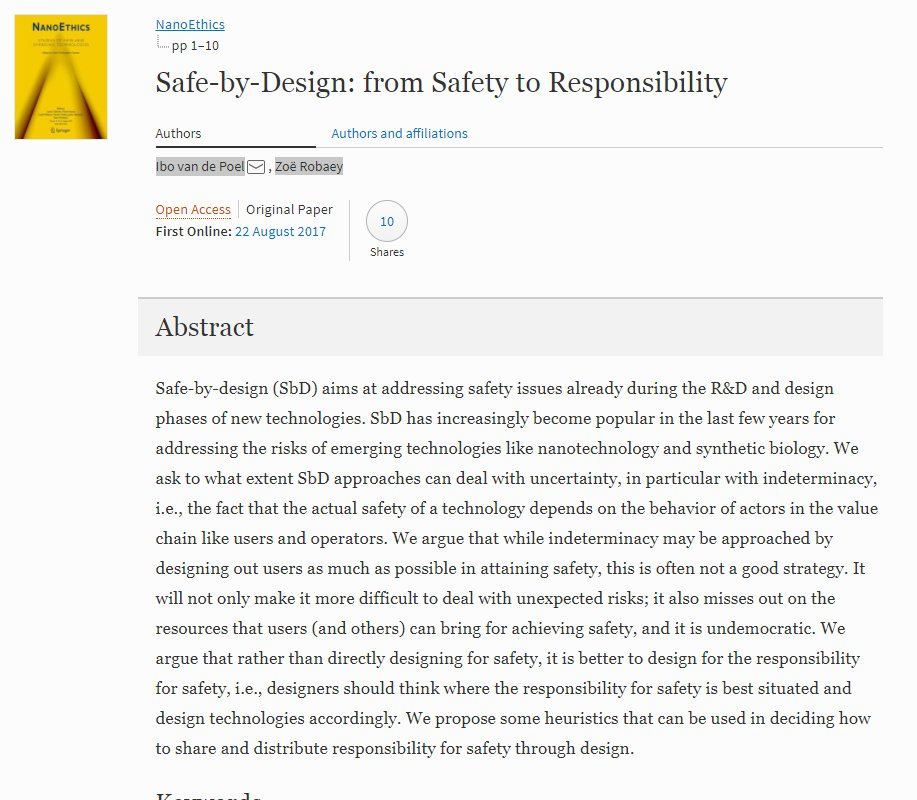 #openaccess Safe-by-Design: from Safety to Responsibility by Ibo van de Poel and Zoë Robaey - NanoEthics Journal   https:// link.springer.com/article/10.100 7/s11569-017-0301-x &nbsp; … <br>http://pic.twitter.com/4jWgmRGz76