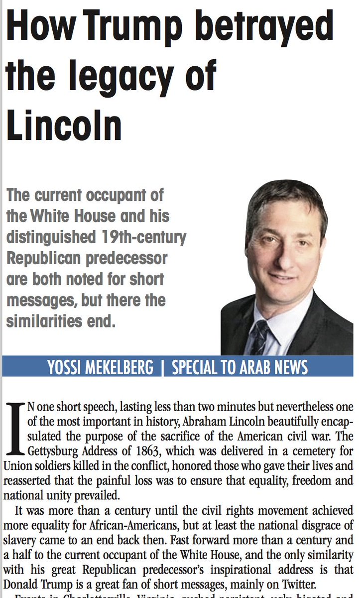 OP-ED: Lincoln's legacy betrayed by White House occupant seven score and 14 years later, writes @YMekelberg. https://t.co/uQkqy847Yu