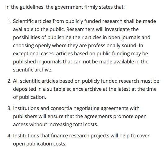 Norwegian government decides all publicly research must be publicly available by 2024 at the latest. #openaccess  https://www. regjeringen.no/no/aktuelt/ape n-tilgang-til-vitenskapelige-artikler/id2568068/ &nbsp; … <br>http://pic.twitter.com/5Yiqcv719C