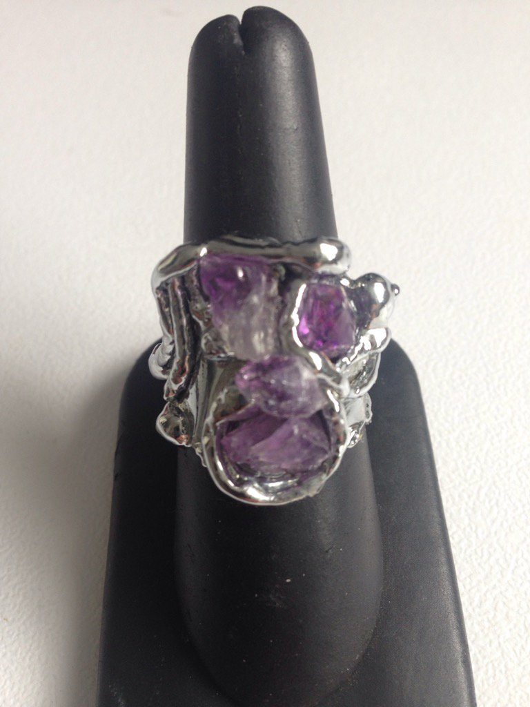 #Amethyst #crystal cluster ring #handmade by artisans in #RiodeJaneiro.<br>http://pic.twitter.com/OiBliezDrS