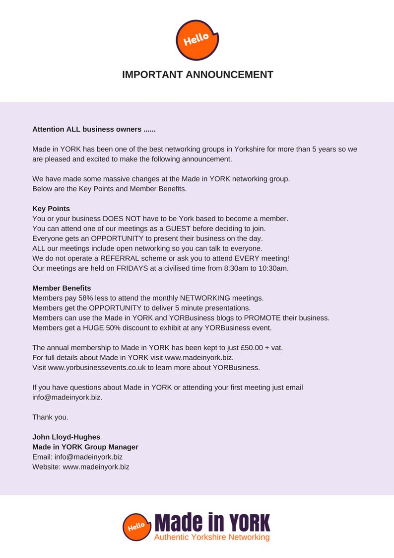 Open letter to ALL businesses.  http:// madeinyorkevents.eventbrite.com / &nbsp;   #legal #finance #housing #charity #networking #Yorkshire #marketing #printing #b2b <br>http://pic.twitter.com/U4o8zYpYCN