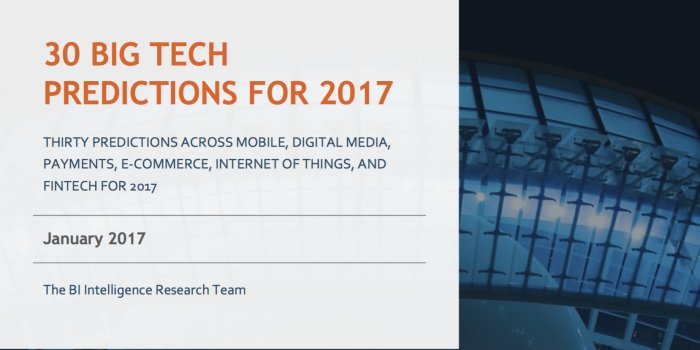 30 big tech predictions for 2017  http://www. businessinsider.com/30-big-tech-pr edictions-for-2017-2017-1?IR=T &nbsp; …  #ArtificialIntelligence #InternetOfThings #AI #IoT #IIoT #IoE #Internet #Business<br>http://pic.twitter.com/gAMzW4YPx6