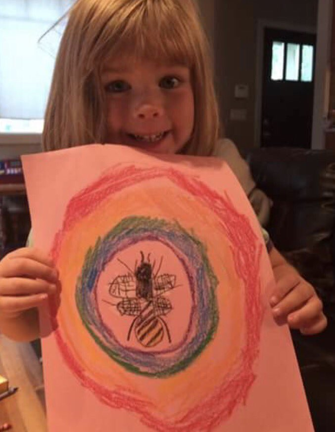 Respect to this little #buzzing #artist who was inspired to pick up her pencils after seeing my Take #Pride in #Manchester #screenprint<br>http://pic.twitter.com/xW4KMvPx5X