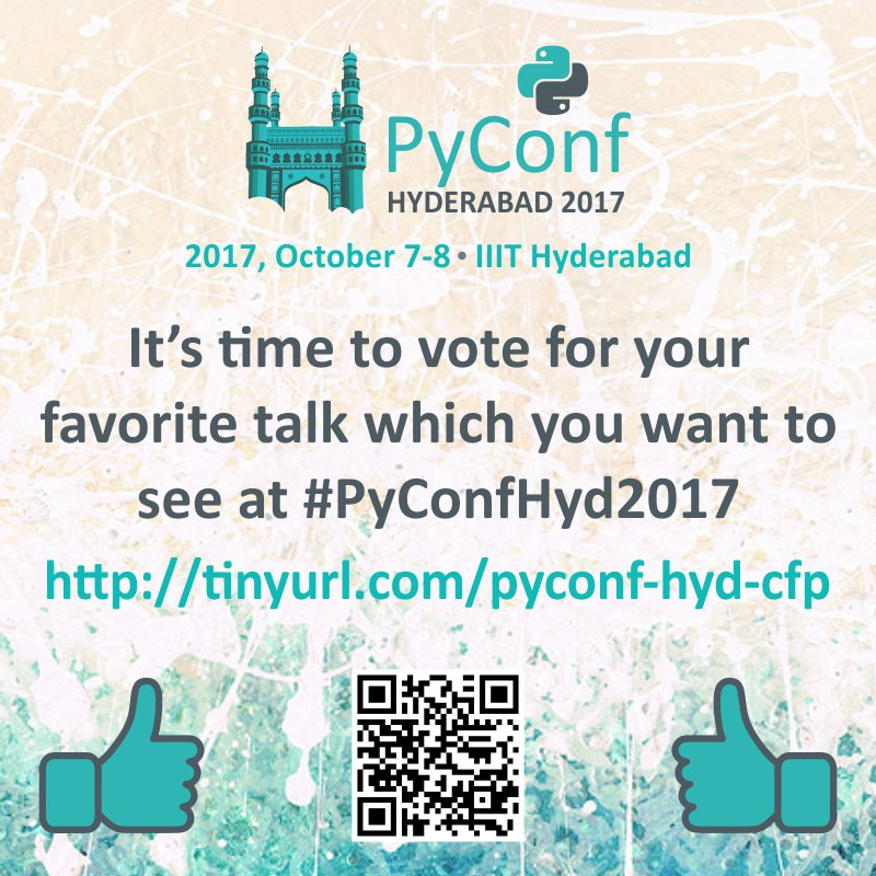 #PyConfHyd thank @jetbrains for being In-kind sponsor for 2-day #event at #hyderabad. Vote for your favorite talk  http:// tinyurl.com/pyconf-hyd-cfp  &nbsp;  <br>http://pic.twitter.com/RrkjreUS7T