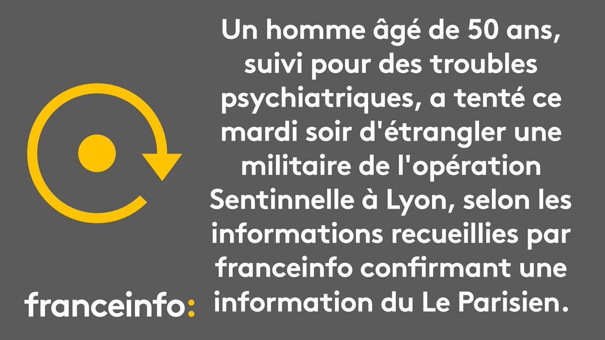 Lyon: un homme, suivi pour des troubles psychiatriques, a tenté d'étrangler une militaire de l'opération Sentinelle