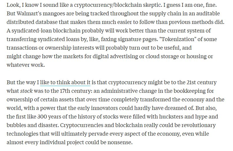This by @matt_levine is exactly how I feel about crypto. Likely transformative in ways unimagined, mostly full of scams.