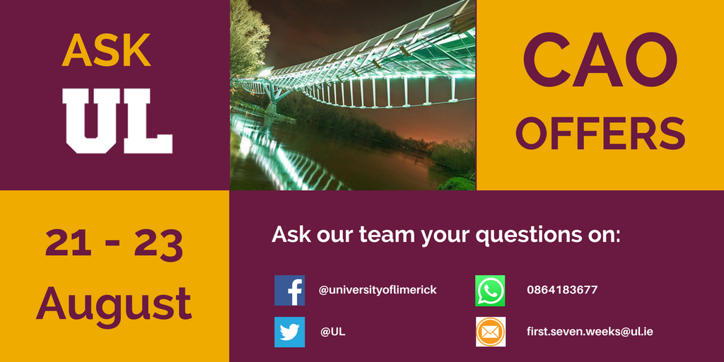Reminder that students who received #CAO2017 offers for UL can message us via multiple channels with all their Qs about #StudyAtUL today. <br>http://pic.twitter.com/T1NSIYV2tH