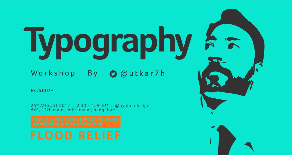 Learn #Typography with @utkar7h - #workshop fee will be donated entirely to @OxfamIndia for #flood relief in #Assam and neighbouring states<br>http://pic.twitter.com/VJLr1wKxx4