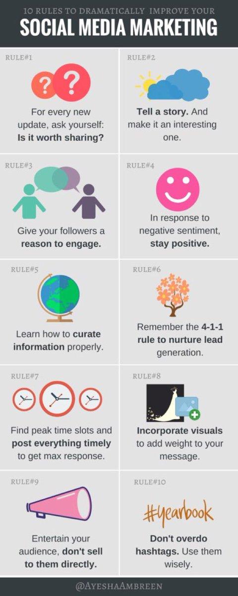 10 Rules to improve #SocialMediaMarketing  #GrowthHacking #SocialMedia #defstar5 #SMM #DigitalMarketing #ContentMarketing #CX #UX #BigData<br>http://pic.twitter.com/aWVdDRf1ZD