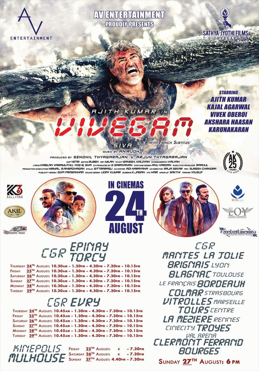 #Vivegam will have a Formidable release in #France.. #Vivegam Actor @SergeCrozon expected to attend the FDFS there..<br>http://pic.twitter.com/mQHGU3QIdr