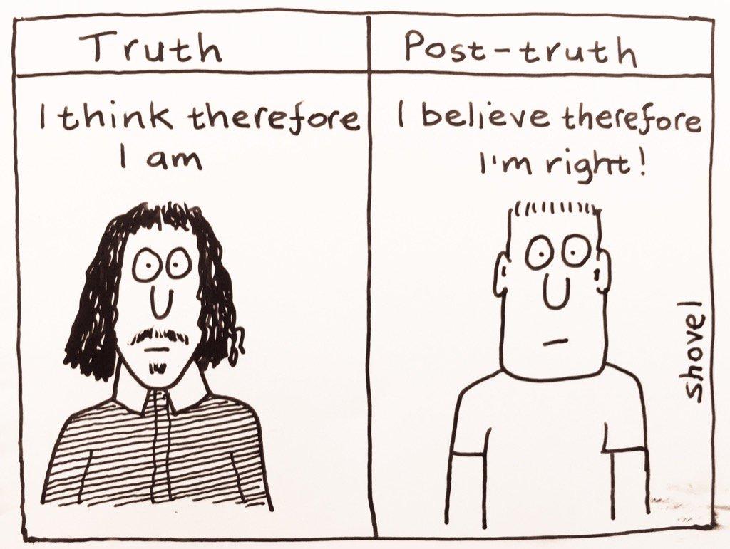 My cartoon - truth vs post-truth  #r4Today  https://t.co/ZDUDLVYr5r