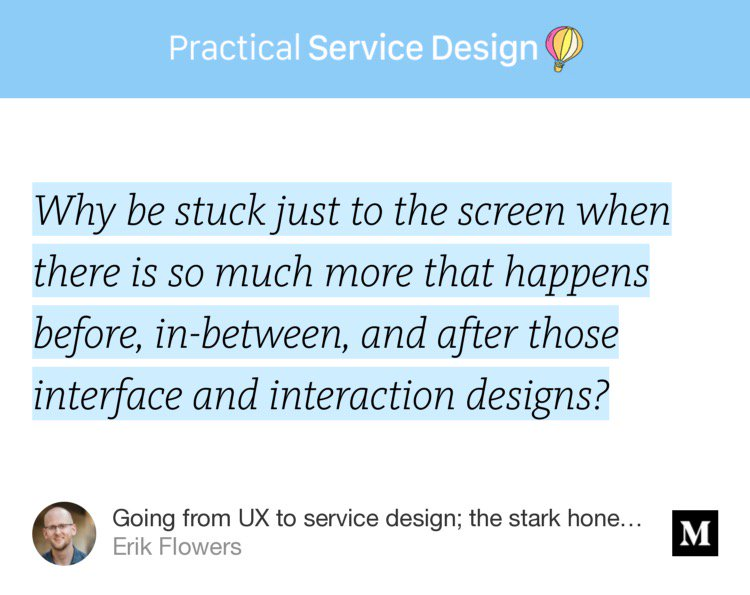 """Going from #UX to #servicedesign; the stark honest truth no one will tell you""  https:// blog.practicalservicedesign.com/going-from-ux- to-service-design-the-stark-honest-truth-no-one-will-tell-you-953028156b86?source=twitterShare-c489c90be879-1503491201 &nbsp; … <br>http://pic.twitter.com/Ehrygtf3sJ"