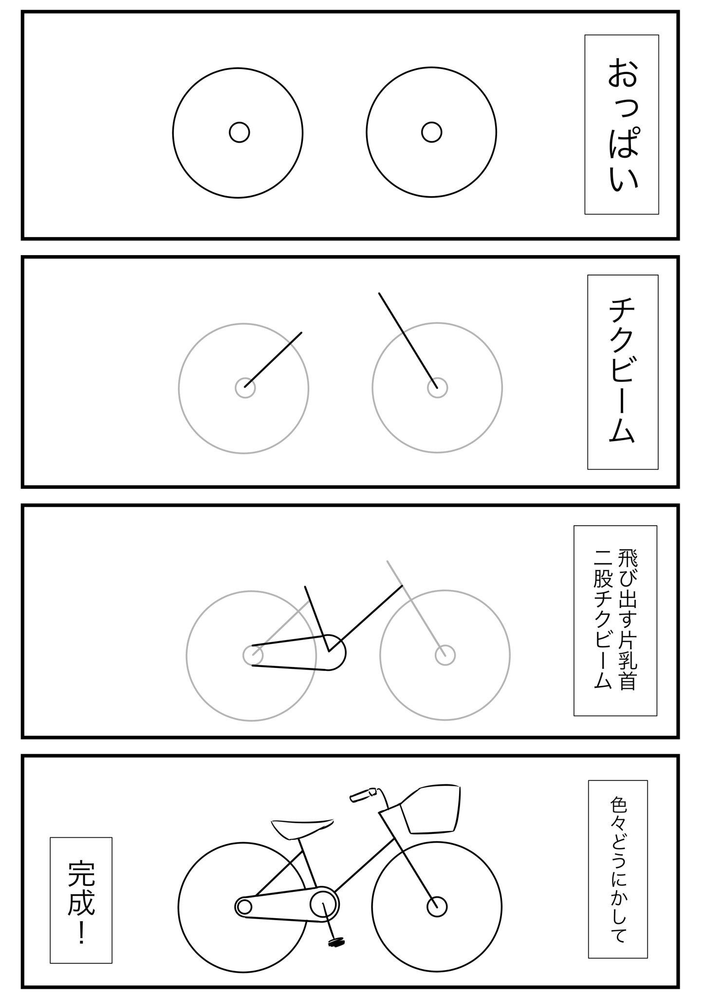 「自転車っていつも見ているのに、いざ描けって言われると描けない」と友人が言っていたので私が「わかりやすく4コマにまとめてあげるね」と送りつけたら死ぬほど不評だったマンガがこちらです。