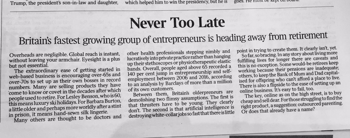 Over 65s becoming #entrepreneurs in record numbers!  No stopping us!  #work #ageing<br>http://pic.twitter.com/FWhDdx51d3