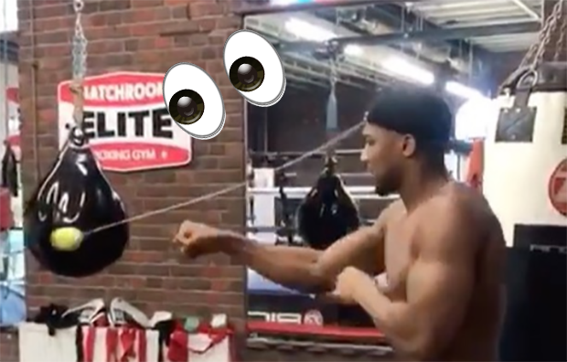 Crazy drill shows just how incredible the World Heavyweight champ's hand-eye coordination is. VIDEO @ https://t.co/aQIOw5fxgr