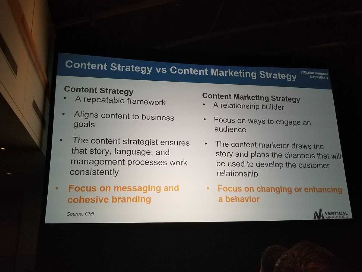 Did u know there is a diff btwn #ContentStrategy and #ContentMarketingStrategy? CS is the big pic about you, CM is for audience #dsphilly<br>http://pic.twitter.com/G21Ekh2Vc4