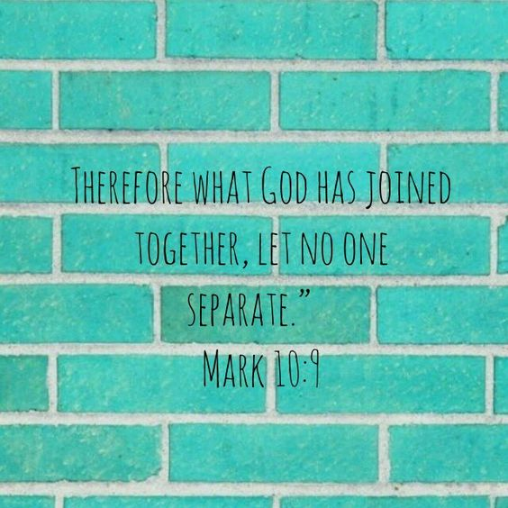 Therefore what God has joined together, let NO one seperate #Mark10:9  #GodisGreater #FindingGod #TrustGod #JesusIsLove #ReadingWithJoost<br>http://pic.twitter.com/aCEYgfi9L1