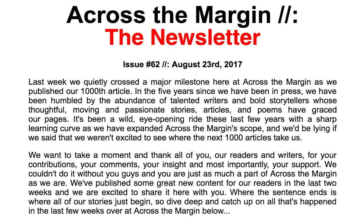 A huge thank you for all your support as we quietly cross a major milestone:  http:// us9.campaign-archive1.com/?u=3857d5dc9a5 638eb71e519e75&amp;id=759ac16927 &nbsp; …  #AcrosstheMargin #ThankYou #1000 <br>http://pic.twitter.com/I0UESOG6Nw