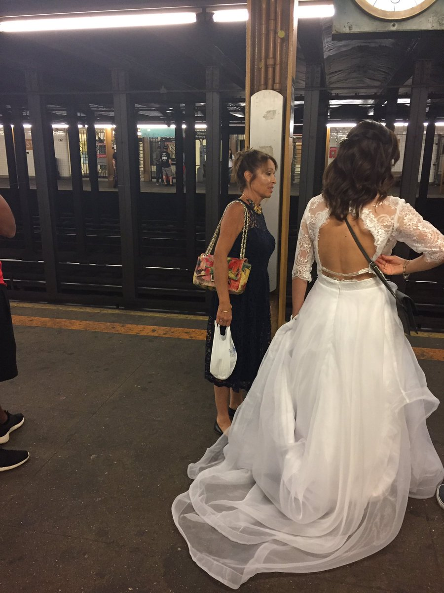 '@MTA don't keep this bride waiting!' Commuter @lindsaygoldwert tweeted from the 34th Street-Penn Station subway platform