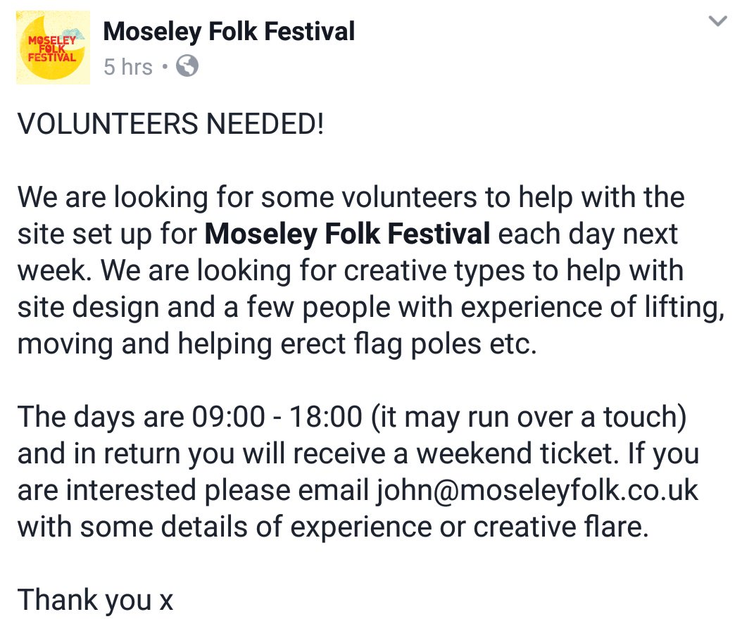 Opportunity for #eventprofs or #eventstudents looking for onsite experience at a festival in #Birmingham. Contact @moseleyfolk for details<br>http://pic.twitter.com/WN86HXZFQl
