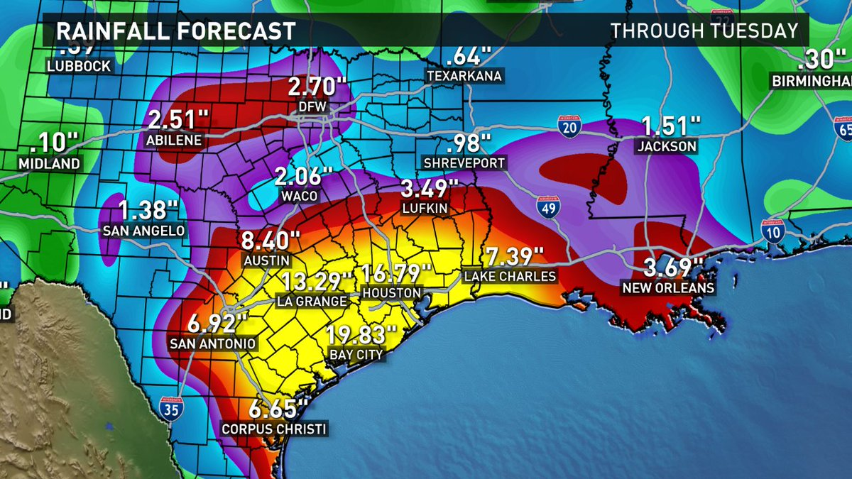 #Harvey could bring life threatening flooding to parts of TX. Shocking rain total forecast through Tues #wfaaweather https://t.co/NRzwBKNgrz
