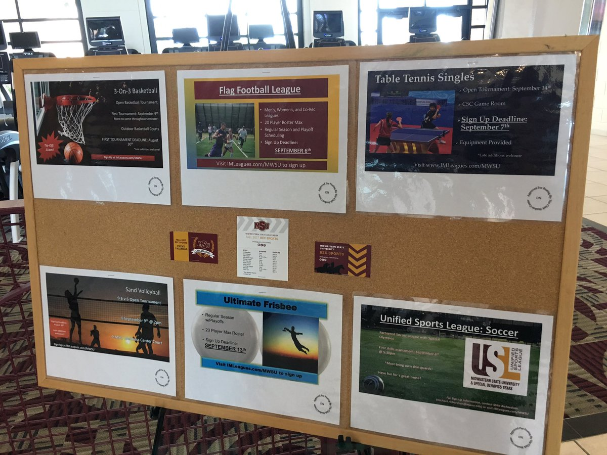 Make sure you check out our Rec. Sports flyers when you come in the Wellness Center! @MidwesternState #MSURec #RecSports #Wellness <br>http://pic.twitter.com/i3yk7WBIJf
