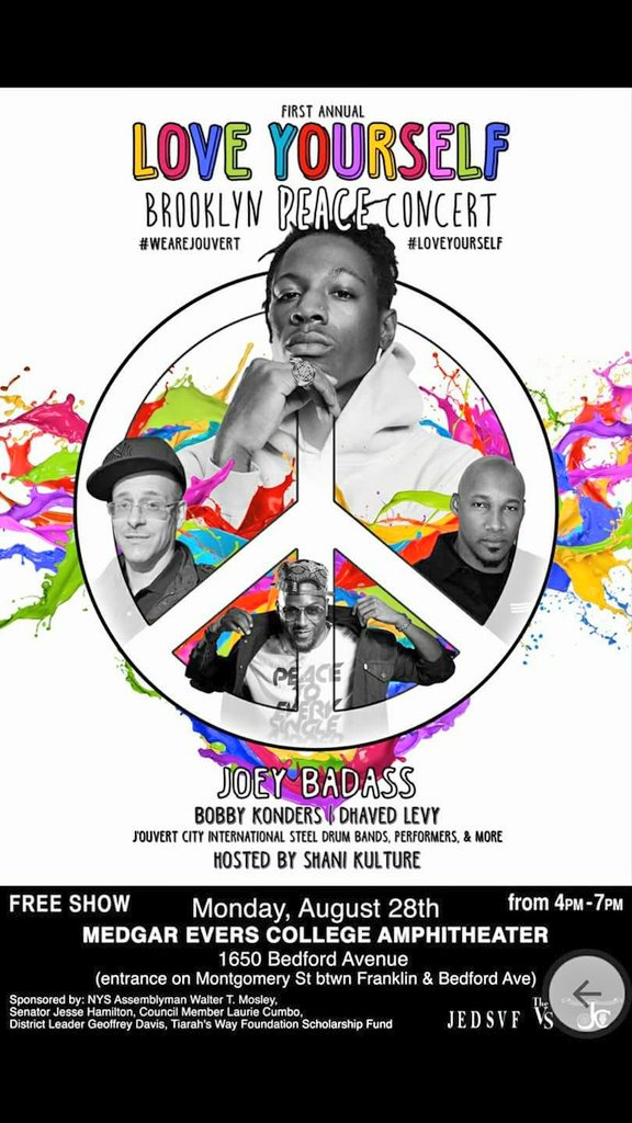 #LoveYourself Concert Featuring @joeyBADASS @BobbyKonders hosted by @ShaniKulture   @AB4CityCouncil Free Tickets:  https:// m.facebook.com/events/1488500 214503657 &nbsp; … <br>http://pic.twitter.com/f6bTzAjzUz