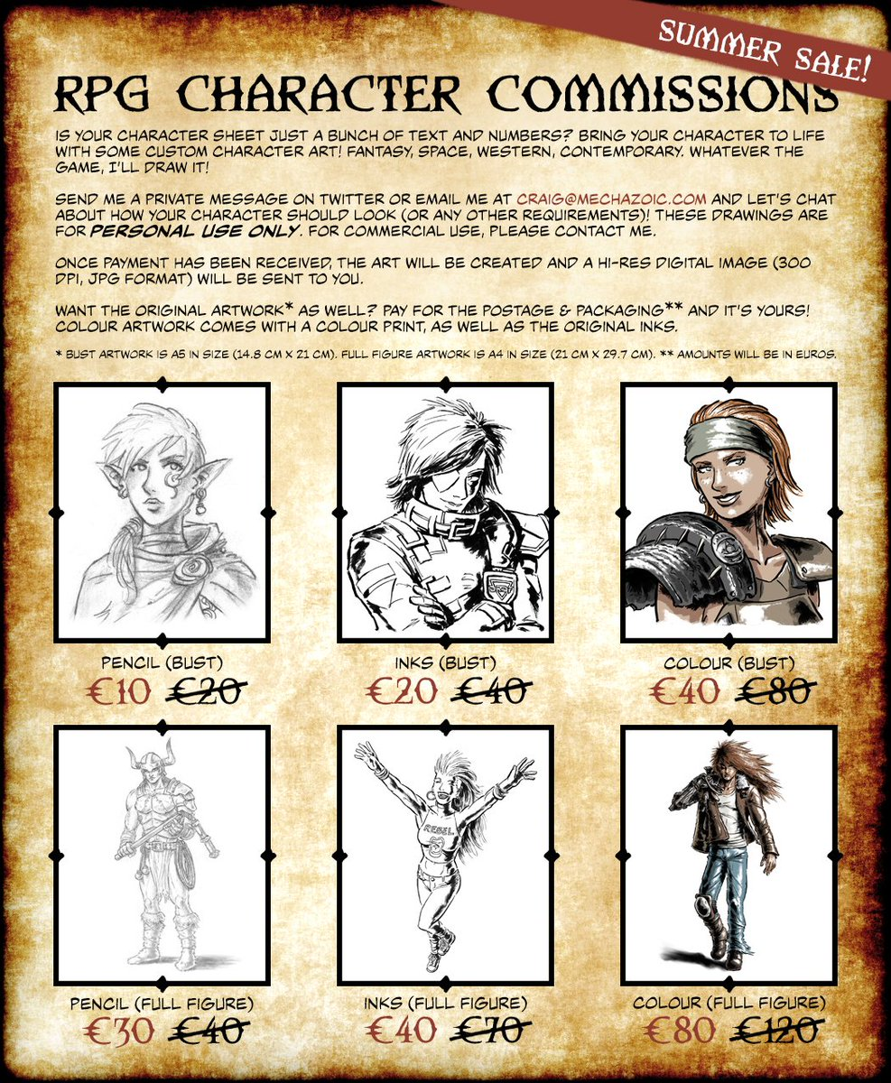 Last week of the Summer Sale! Get in quick for a drawing of your #RPG character! #DnD #Fantasy #SciFi #art #illustration #CharacterDesign<br>http://pic.twitter.com/JQQMDMVX8g