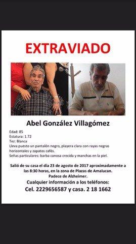 #ServicioSocial Ayuda para localizar al Sr. Abel González Villagómez, de 85 años de edad. Padece Alzheimer. Inf. 2229656587 y 2181662.
