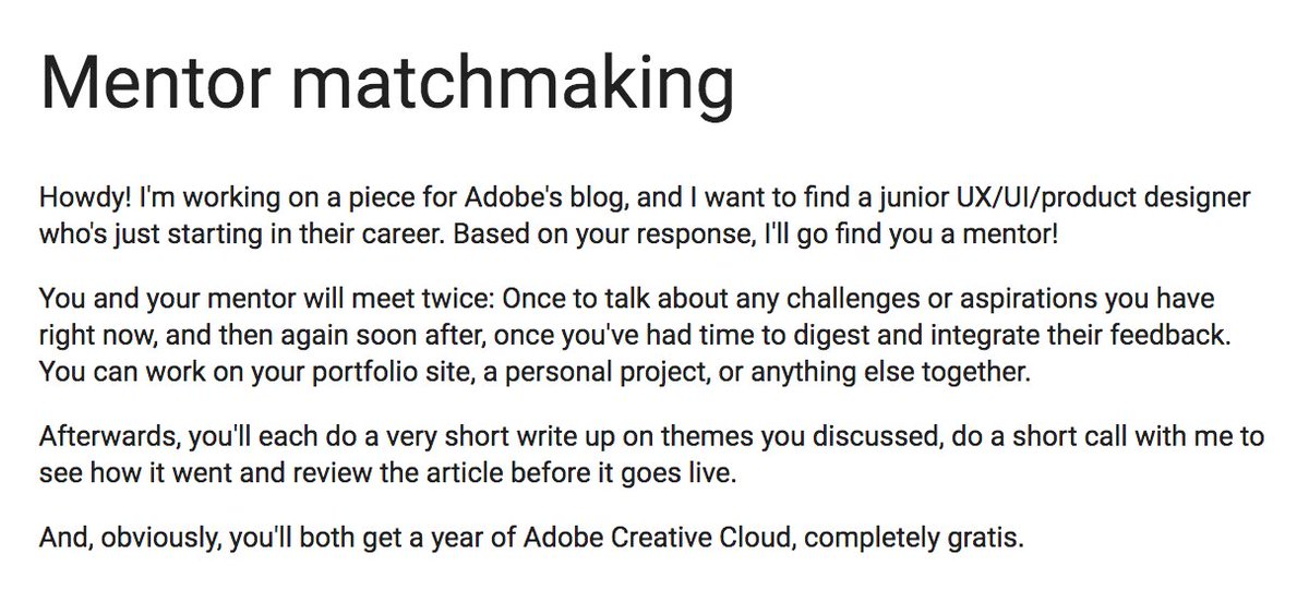 Trying this out—looking for an awesome junior digital designer. I'll go find you a mentor! https://t.co/tlKjipOby0 https://t.co/mUSSPORcFN
