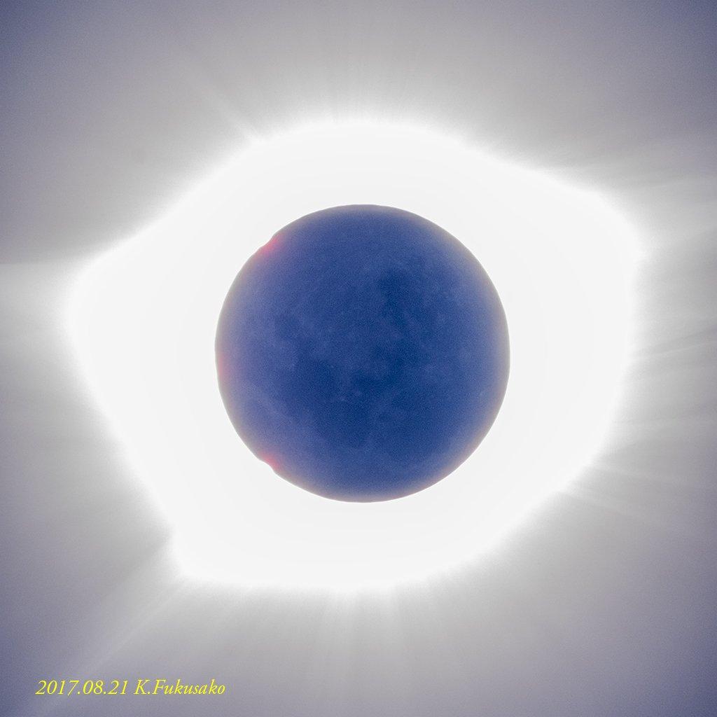 朝の時間にちょっと画像をチェックしつつ、皆既日食中の月(1枚撮)。 2017/0821 11:34(現地時間) https://t.co/1JcU5tRxZa