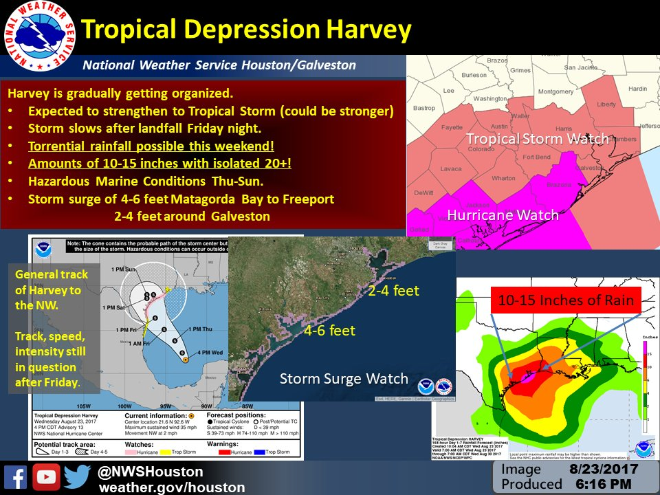 Tropical Depression Harvey impacts for Southeast Texas. Friday through Sunday very heavy rainfall expected. Stay tuned!