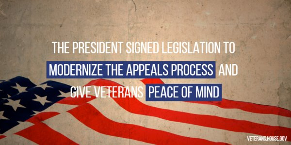 Today@POTUS signed the Veterans Appeals Improvement & Modernization Act into law. We must ensure our veterans get the care they deserve.