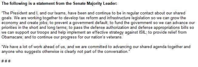 NEW stmt from McConnell says 'The President and I, and our teams, have been and continue to be in regular contact about our shared goals.'