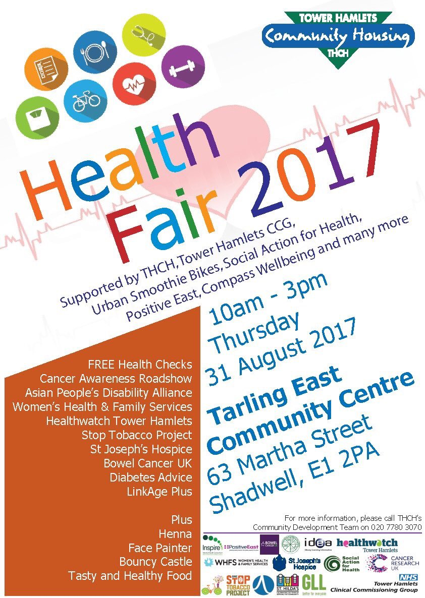 Join us | Health Fair supported by @PositiveEast @HWTowerhamlets @CWBTowerHamlets @SAfHuk @WHFS_charity | #Health #Wellbeing<br>http://pic.twitter.com/mBZhRarSQs