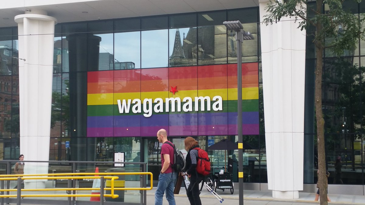 Photo of @wagamama_uk on St Peter&#39;s Square in Manchester ahead of @ManchesterPride - it&#39;s great seeing so many businesses supporting #Pride. <br>http://pic.twitter.com/f4UJAxAo2v