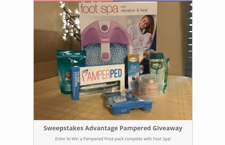Ready to Be Pampered? Win This Foot Spa Prize Package! Please Comment, Like or #Retweet &amp; Enter:  https://www. sweepsadvantage.com/sweepstakes-88 6700.html &nbsp; …  #spa #sweepstakes<br>http://pic.twitter.com/x1TfVcIHwH