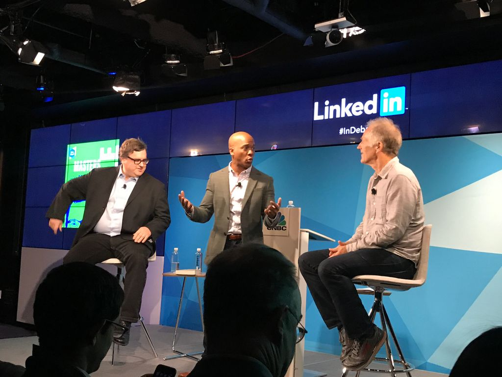 My favorite Silicon Valley titans debating winner-take-all tech at @LinkedIn HQ #mastersofscale @reidhoffman @timoreilly @jonfortt