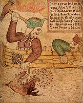 トールの日である木曜日が、他の週日以上に神聖なものとみなされてる例として、トールの後援するティングモトThingmote(スカンジナビア語で部族会議の意)の開会日。(アト=ド=フリース)。 18世紀の写本『SÁM 66』に描かれた、トールがヨルムンガンドを釣り上げる場面。 pic.twitter.com/zj7OQAIFZU
