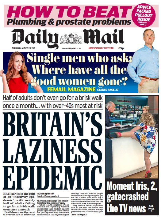 DAILY MAIL FRONT PAGE: 'Britain's laziness epidemic' #skypapers