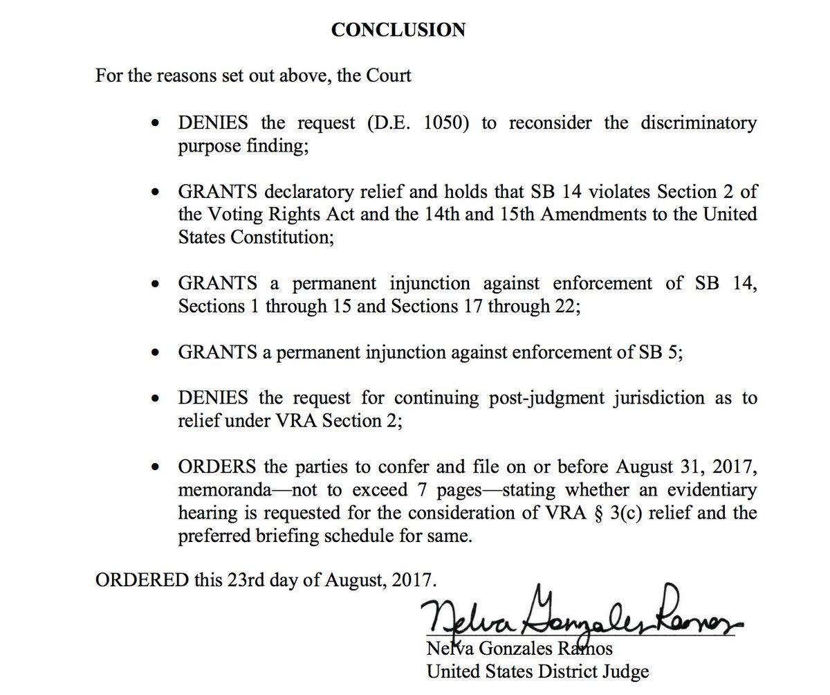 BREAKING: Federal judge permanently blocks Texas #VoterID law. @TXAG promises appeal. #txlege https://t.co/OmiejGFxix