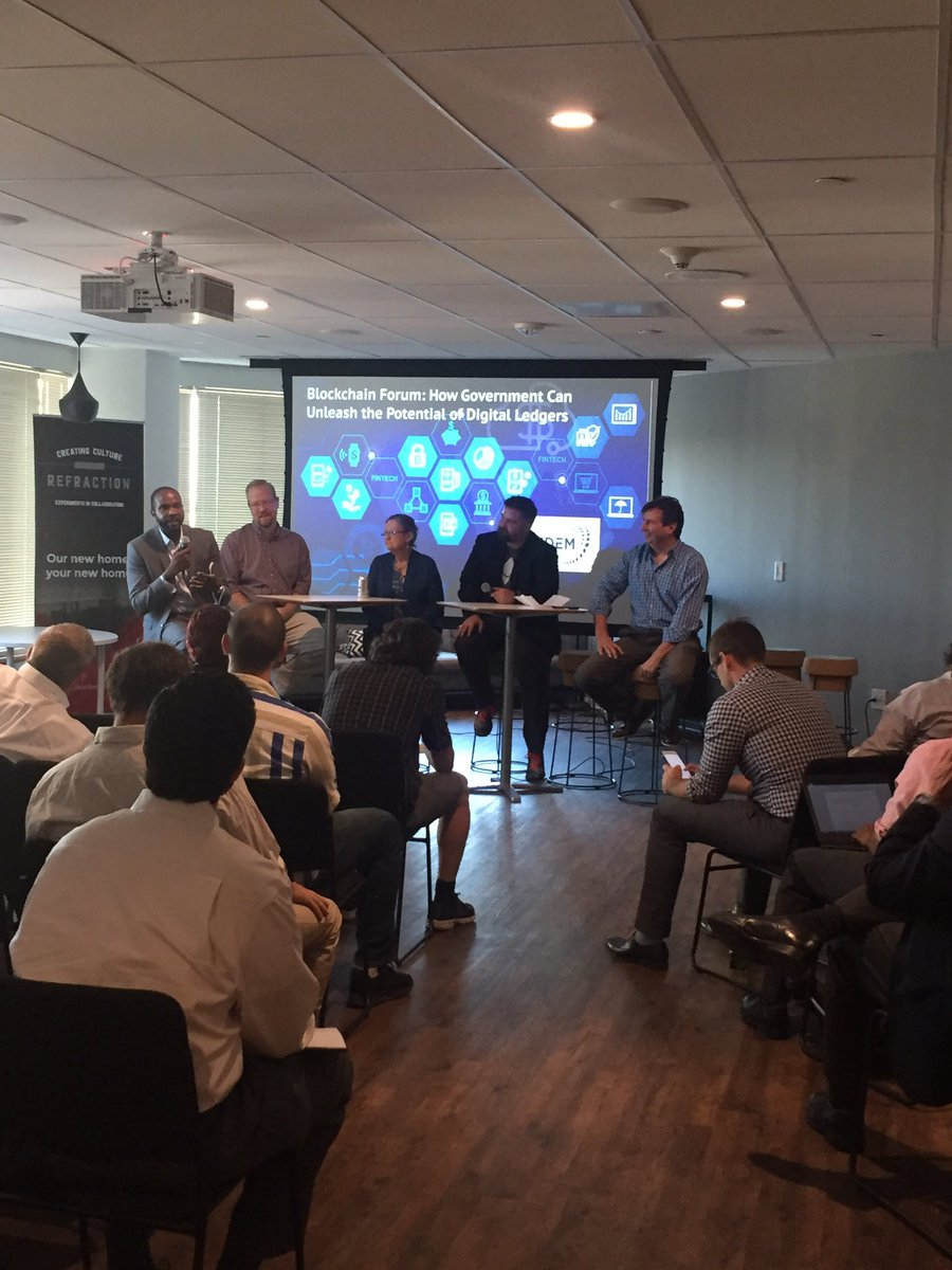And we are off here at our #Blockchain Forum at @refractionpt. Great crowd tonight. Thanks to our sponsors @FairfaxEDA @bytecubed.<br>http://pic.twitter.com/gSKbyyZJPw
