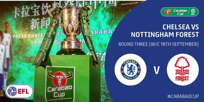 BREAKING! #Chelsea go dey face Nottingham Forest for the round 3 of Carabao Cup. #CFC #CarabaoCup #C4P<br>http://pic.twitter.com/PhDKxyp5Kc