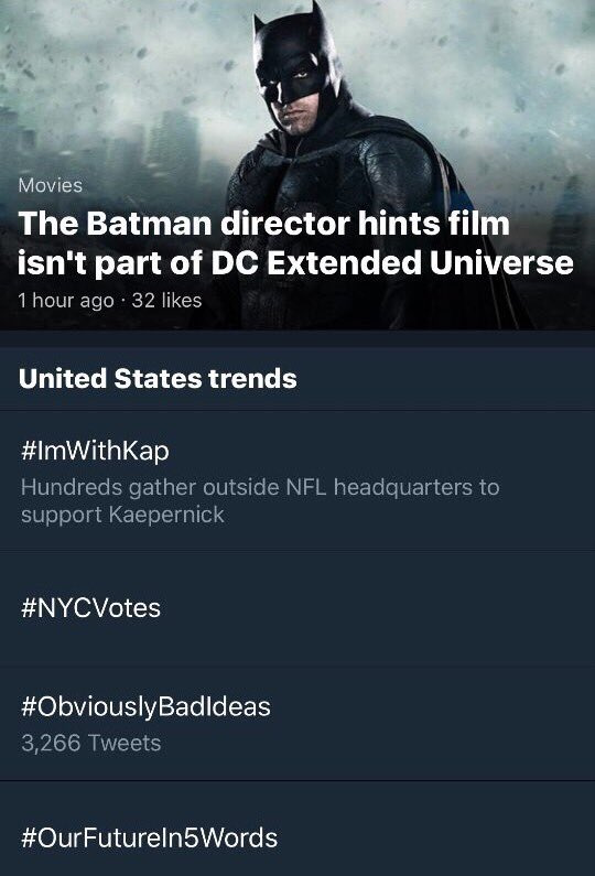 #ImWithKap is the # 2 trending topic in the US! Let's keep it's going!! ✊��✊��✊��✊�� https://t.co/Xf8Diw8IvJ https://t.co/6kwCCzv9Y8