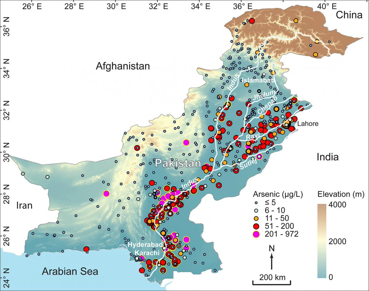 ALARMING: Map of carcenogenic #Arsenic contaminated #drinking #water in the #IndusBasin of #Pakistan. ~60M ppl directly affected.<br>http://pic.twitter.com/OkpiEfsvlH