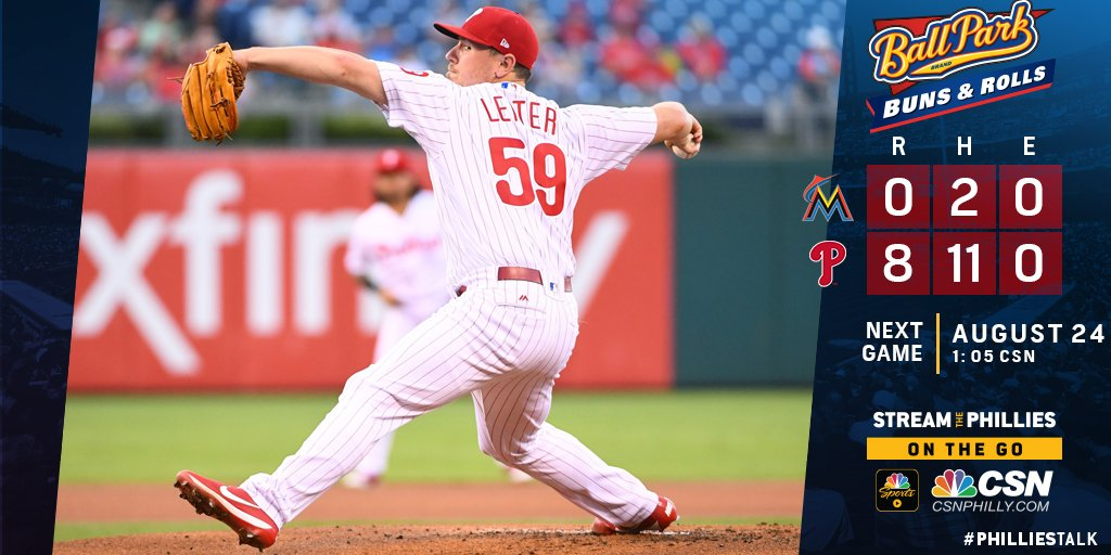 Rhys Hoskins blasts a 445-foot home run and Mark Leiter threw a gem as the Phillies two-hit the Marlins. #BallParkBuns